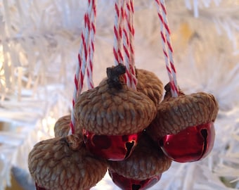 6 Red Jingle Bell Acorn Ornaments