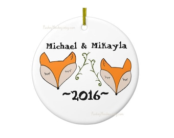 Custom fox or foxes ornament ceramic oval personalized woodland Christmas ornament girls boys baby's first Christmas Yule holidays wedding