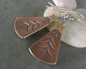 Sale-Rustic Earrings-Tree-Star- Artisan-Brass-Copper-Sterling Silver Earrings.
