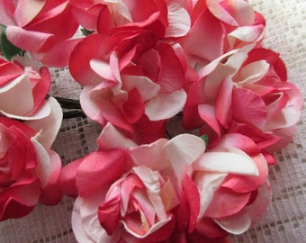 Paper Millinery Flowers 12 Curly Paper Roses Red Ombre & Ivory
