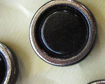 12 Vintage 1970s Czech Glass Buttons Handmade Black And Silver Glass Czechoslovakia  #37