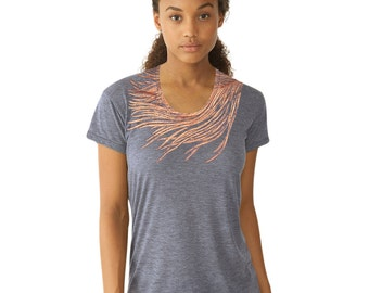 Feather Tee for Women - Peacock Feather Shirt - Loose fit Shirt - Feather in a Storm