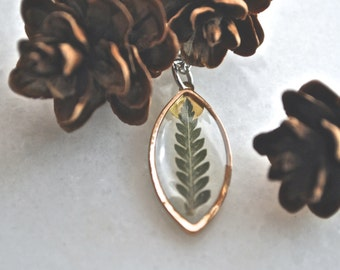 Rose Gold Pressed Fern Necklace Pressed Flower Jewelry Botanical