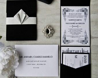 Art Deco Wedding Pocketfold Invitation | Custom Wedding Invitations Deposit