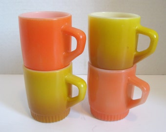 Vintage Fire King Stacking Cups Mugs Peach Orange Gold Yellow Set of Four