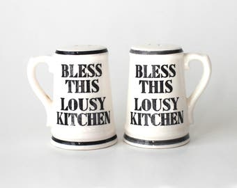 Bless This Lousy Kitchen Salt and Pepper Shakers Black and White Vintage Made in Japan