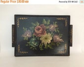 20 % Off Antique Painted Tole Tray Place with Pink, Blue, Lavender Florals