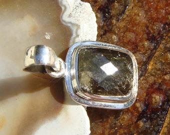Authentic Natural Moldavite  Faceted Pendant Silver Bezel OOAK Green Tektite