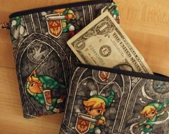 "Coin bag Zelda , credit card, purse.  wallet, zippered pouch, bag, 6"" x 6"" or 6"" x 4""."