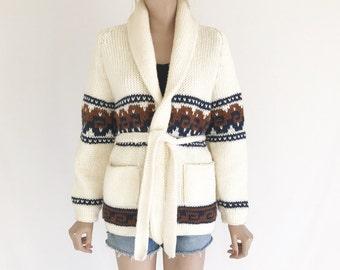 Vintage 70's Chunky Knit Boho Cardigan Sweater