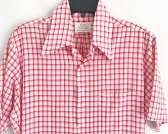 Vintage 60's red and white Checkered Mad Men Button Up Shirt