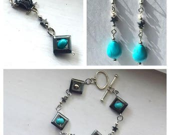 Enchanted Reality - Turquoise and Hematite Necklace Bracelet and Earrings Set