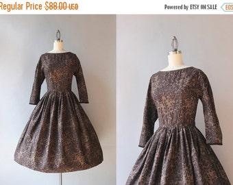 STOREWIDE SALE Vintage 50s Dress / 1950s Jeanne d'arc Chocolate Cotton Day Dress / Dark Floral Fifties Dress