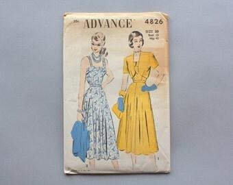 1940s Dress Pattern / Vintage 40s Sundress Sewing Pattern / Uncut Factory Fold Advance Pattern 4826 38 bust 32 waist size 20