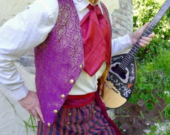 Purple and Gold Floral Imperial Steampunk Silk Brocade Gentlemen's Vest, Trousers, Frilly Shirt and Cravat
