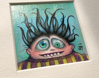 """NEW MINIATURE! """"Blandon Staplecorn"""", original miniature mixed media 2"""" x 2"""" matted to 6x6"""" monster, happy scared, black crazy hair, silly"""