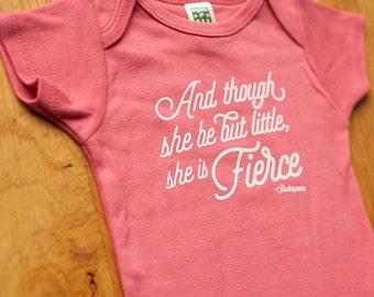 Coral Pink She is Fierce Onesie, Short Sleeve Baby Bodysuit, Romper, Screen printed onesie, 3-6m, 6-12 mo, 12-18mo by Sweetpea and Co.