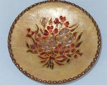 Limoges Enamel on Copper Dish Signed Raymonde Mathieu Beige with Flowers 1960s