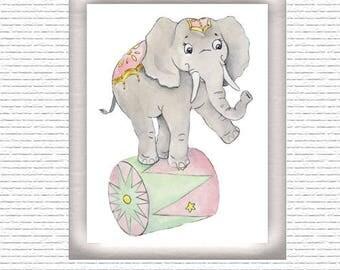 Circus Elephant Wall Art Digital Print