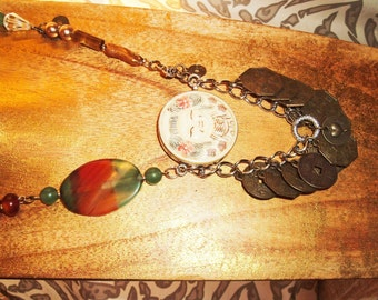 Ethnic, Asian Inspired, Brass Coin, Striped Orange & Green Agate, Jade, Cow Bone, Crystal Necklace, Artisan, Boho, Trendy, OOAK
