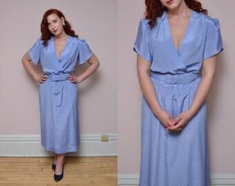 Vintage 1980s Lavendar Purple Secretary Career Belted Dress // Polka Dot Shimmery Lady Carol Dress - Size L