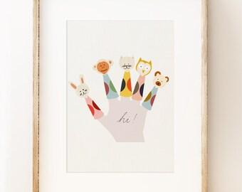 Finger Puppets - children's nursery wall art print