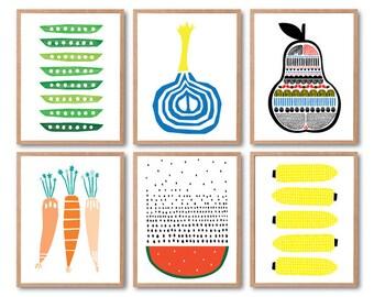 Fruits print set of 6, Pear, Carrot, watermelon, Onion, Peas, Corn, Botanical wall art, Fruit Art Print, Kitchen Art decor, Kids room decor