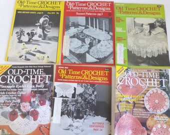 Old Time Crochet Patterns & Designs Magazines 6 Back Issues 1979, 1980, 1998, 2000 Vintage Crochet Patterns Booties, Lace, Doiles, Crafts