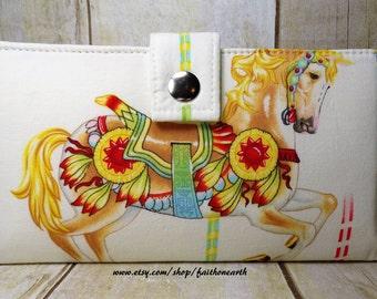 Handmade Long Wallet  Vegan BiFold Clutch - Carousel horse wallet