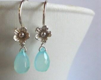 FLASH SALE 20% OFF, Teeny Aqua Blossom Flower Drops, chalcedony earrings, small chalcedony earrings, floral earrings