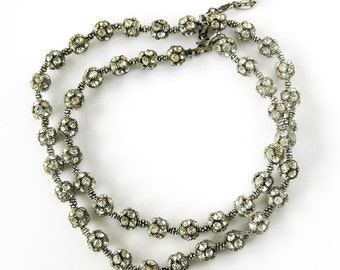 Vintage 50s Rondelle Cluster Clear Rhinestone Ball Necklace  / Vintage Rhinestone Beads / Art Deco Revival Jewelry