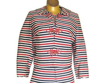 1960s Mod Designer Dress and Jacket / Asian Frog Buttons / Sheath Dress / Red White and Blue Stripe / Robert W Gates