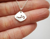 Nasty Necklace Sterling Silver Necklace Script Necklace Inspirational Necklace Cut Out Necklace Still Nasty