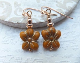 Czech Pumpkin Orange Flower beads with Rose Gold Beads and Nickel Free Hooks