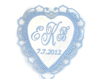 Wedding Dress Label.Wedding Dress Labels.Wedding Dress Patch.Something Blue Wedding Patch.Lace Heart Dress Label.