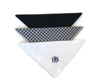 Monogrammed Handkerchiefs Mens Plaid Black White Plaid Set of 3