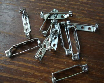 "pinbacks 1"" steel rectangle 10pcs silver brooch pin backs jewelry crafts supplies embellishments metal jewelry findings"