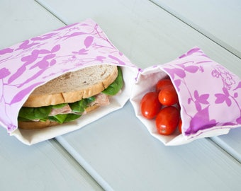 PLASTIC-FREE Purple Orchid Whispering Grass Sandwich and Snack Bags, Reusable, Organic Cotton, Eco Friendly - Set of 2