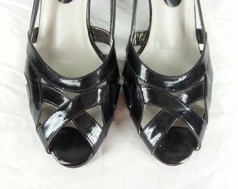 Vintage 80s black patent leather peep toe kitten heels shoes size 7 narrow