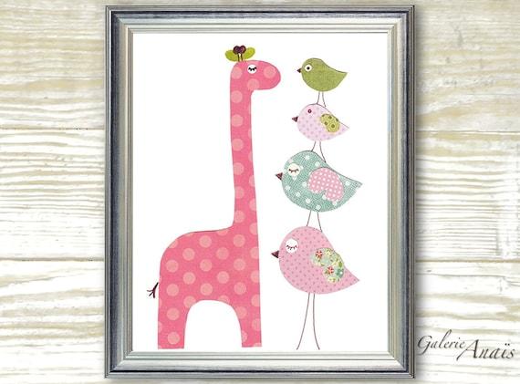 Giraffe nursery - Animal girl bedroom - baby nursery decor - Pink blue children print -  Birds art - Taller Than You