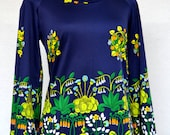 FLOWER Print Flora & Fauna PLANTS and Nature Printed TOP with Bell Sleeves and Scoop Neckline.