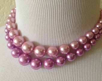 Two Strand Faux Pearl Necklace in Pink and Lavender