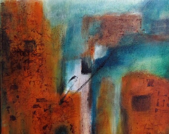"Art #Original #Painting #Abstract #Taos Summer #Southwestern Adobe ""Acrylic Paints #Rusty Reds"