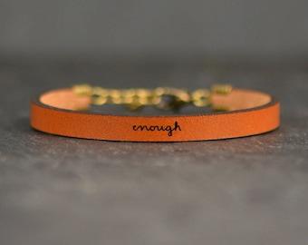 i am enough jewelry | leather bracelet | mental health awareness jewelry | encouragement bracelet | inspirational | recovery jewelry