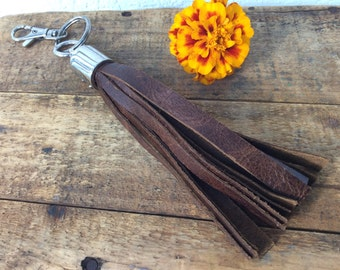 Brown Leather Tassel Keychain by Binding Bee RECLAIMED leather