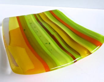 Fused Glass Striped Plate in Shades of Yellow, Orange and Green by BPRDesigns