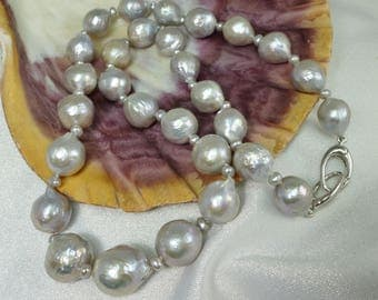 Silver Gray Ripple Pearl Necklace 925 Sterling Silver Orbit Clasp Hand Knotted in USA Keshi Pearls Beader's Secret Thread Grey Strand