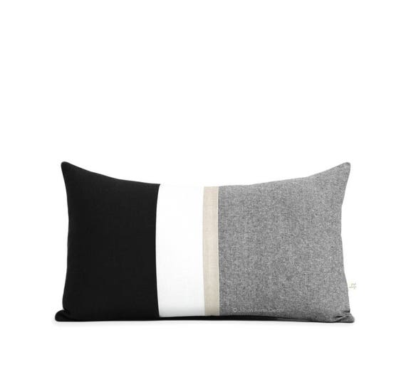 metallic gold stripe lumbar pillow cover in black and cream. Black Bedroom Furniture Sets. Home Design Ideas