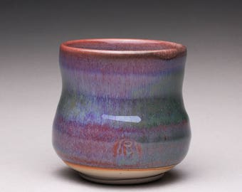 handmade porcelain cup, ceramic teacup, pottery yunomi with lavender green and white shino glazes