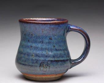 handmade pottery mug, ceramic tea cup, coffee mug with dark blue and orange shino glazes
